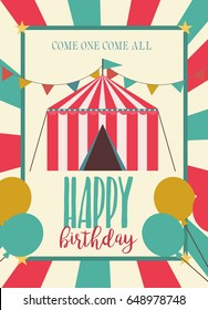 Happy Birthday card, circus party card with circus animals and attractions. Vector illustration