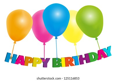 Happy Birthday Card - Color Balloons With Sign - Isolated on White