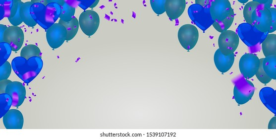 Happy birthday card colorful balloons group and blue balloons ,  background pattern  beautiful colorful illustration