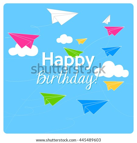 Happy Birthday Card Colorful Origami Paper Stock Vector Royalty