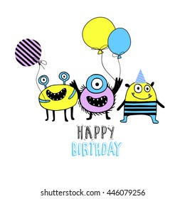 Happy birthday card with Colorful toy cute monster