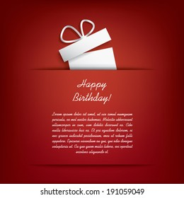 Happy birthday card concept with white present on red background and space for text.