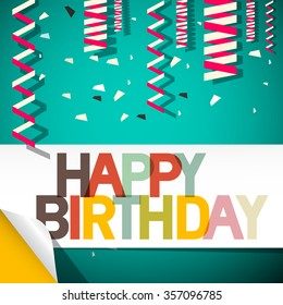 Happy Birthday Card with Confetti Retro Vector Illustration