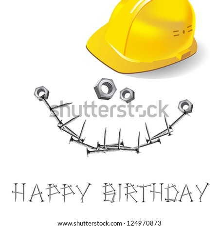 Happy Birthday Card Construction Of Buildings