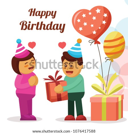 Happy Birthday Card With Couple Cartoon Character