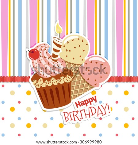 Happy Birthday Card Cupcakes Candles Ice Stock Vector Royalty Free