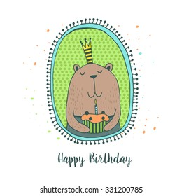 Happy Birthday card with cute animals. Kids background.