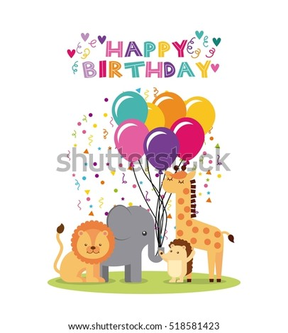 Happy Birthday Card With Cute Animals Balloons Over White Background Colorful Design Vector