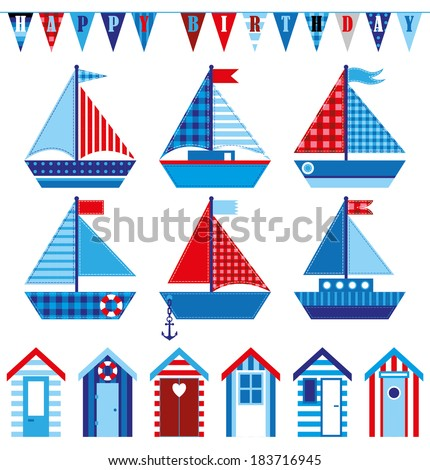 Happy Birthday Card With Cute Babys Boats And Beach Huts