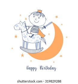 Happy Birthday card with cute boy like little prince.