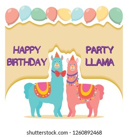 Happy birthday card with cute cartoon llama. Vector illustration for poster, card, textile or invitation. - Vector
