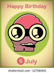 Happy birthday card with cute cartoon monster