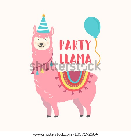 Happy Birthday Card Cute Cartoon Llama Stock Vektorgrafik