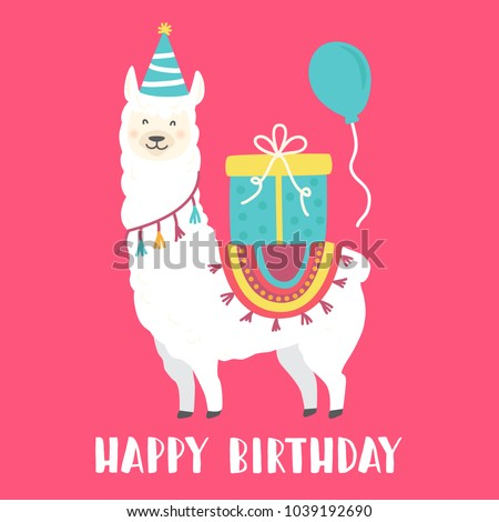 Happy Birthday Card Cute Cartoon Llama Image Vectorielle De Stock