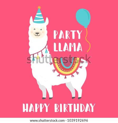 Happy Birthday Card With Cute Cartoon Llama Design
