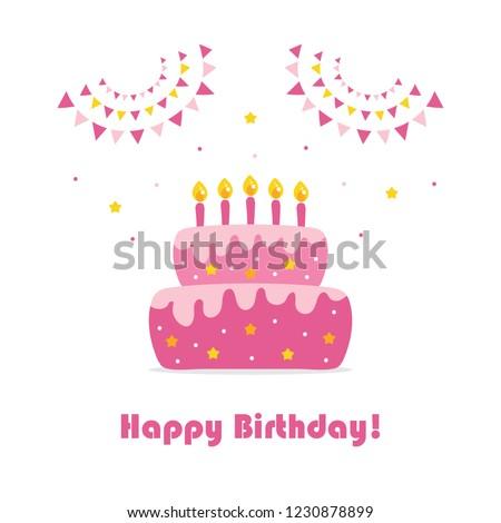 Happy Birthday Card Cute Cartoon Vector Stock Vektorgrafik
