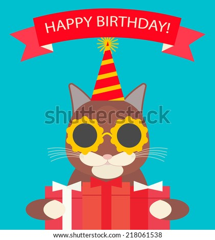 Happy Birthday Card With Cute Cat In Hat And Funny Glasses Gifts Flat