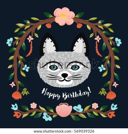 Happy Birthday Card Cute Cat Floral Stock Vector Royalty Free