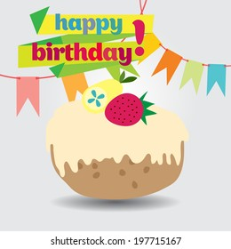 happy birthday card with cute cupcake