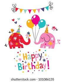happy birthday card with cute elephants