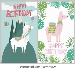 Happy birthday card with cute lama. Editable vector illustration