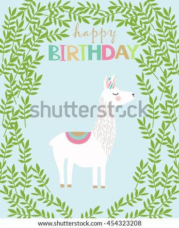 Happy Birthday Card With Cute Lama
