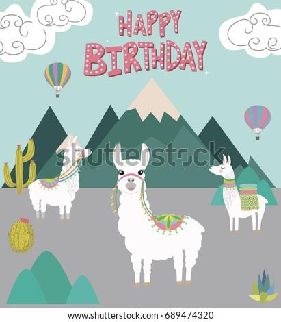 Happy Birthday Card Cute Lama Editable Stock Vector Royalty Free