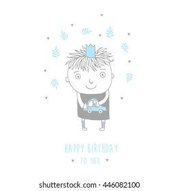 Happy Birthday card with cute little prince.