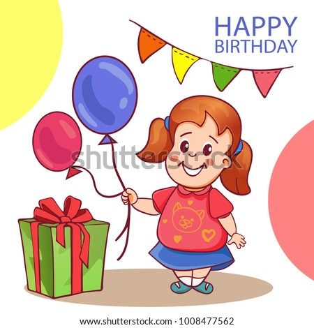 Happy Birthday Card With Cute Little Girl Cartoon Vector Illustration Holding Balloons And A Gift Greeting For Woman Daughter