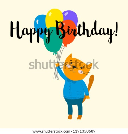 Happy Birthday Card Cute Little Cat With Balloons Cartoon Character Vector Illustration