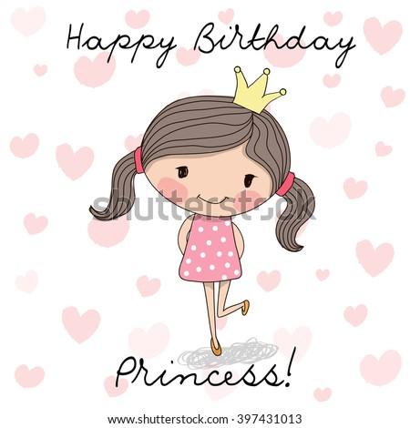 Happy Birthday Card Cute Little Princess Stock Vector Royalty Free