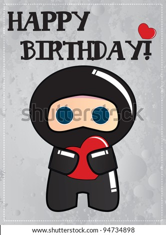Happy Birthday Card Cute Ninja Cartoon Stock Vector Royalty Free