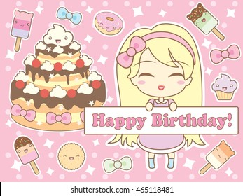 Happy birthday card with cute smiling cartoon chibi girl, sweets and stars on pink polka dot background . Vector illustration.