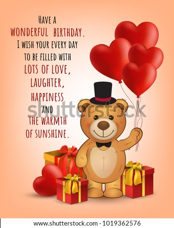 Happy Birthday Card With Cute Teddy Bear And Gifts BalloonsVector Greeting