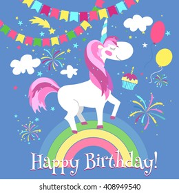 Happy birthday card with cute unicorn on rainbow. Fairytale fantasy template. Vector illustration