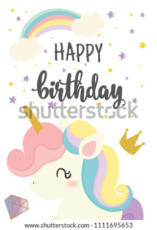 Happy Birthday Card With Cute Unicorn Greeting