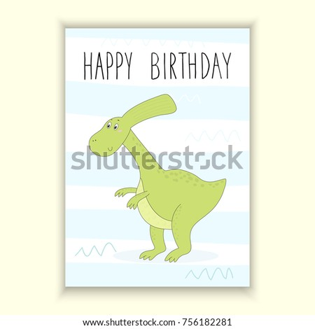 image about Dinosaur Birthday Card Printable known as Satisfied Birthday Card Design and style Lovable Hand Inventory Vector (Royalty