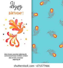 Happy Birthday card design with Firebird. Vector illustration of Phoenix.