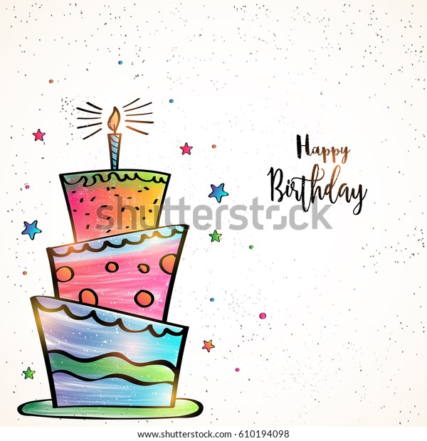 Happy Birthday Card Design Hand Drawn Stock Vector