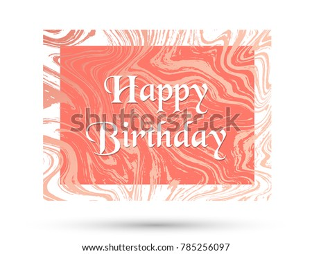 Happy Birthday Card Design With Pink Rose Gold Marble Texture Vector Background Trendy Greeting