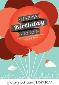Happy Birthday card design template balloon illustration