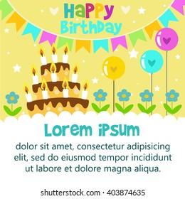 vetor stock de happy birthday card design template livre de
