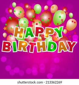 Happy birthday card design template/vector illustration