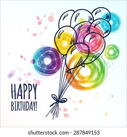 Happy Birthday Card With Doodle Hand Drawn Balloons Vector Illustration