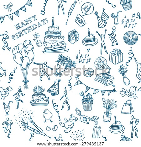 Happy Birthday Card Doodle Hand Drawn Stock Vector Royalty Free