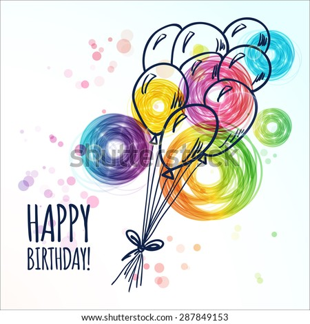 Happy Birthday Card Doodle Hand Drawn Image Vectorielle De Stock