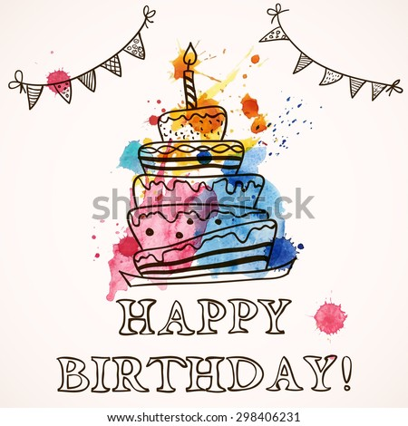 Happy Birthday Card With Doodle Hand Drawn Cake Vector Illustration