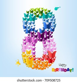 Happy Birthday Card Eight Years Gradient Mesh, Vector Illustration