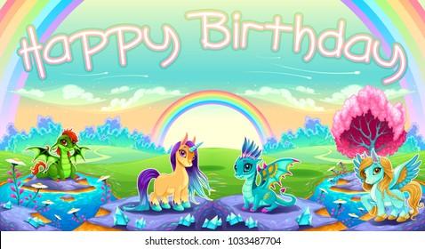 Happy Birthday card with fantasy animals. Vector cartoon illustration.