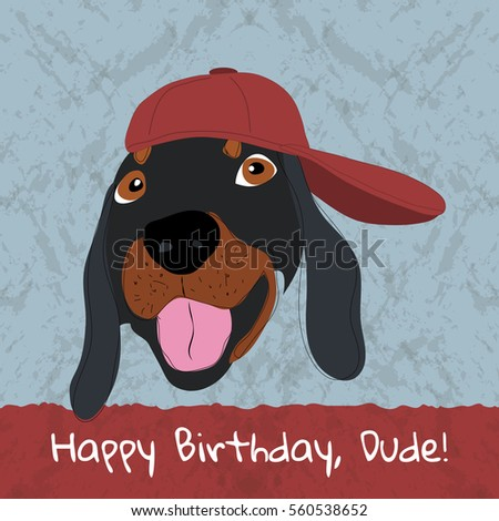 Happy Birthday Card Fashion Dachshund Dog Stock Vector Royalty Free